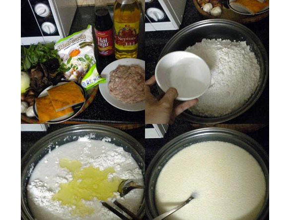 pha bột làm bánh cuốn