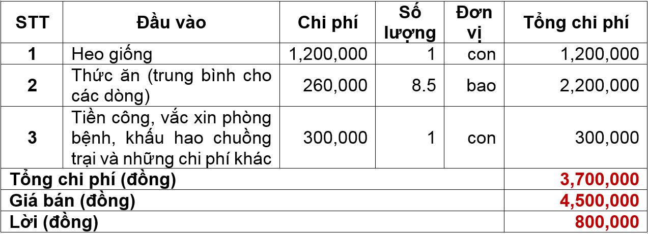 chi phí chăn nuôi lợn
